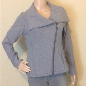 Athleta Asymmetrical Gray Zip Jacket